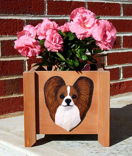 Papillon Dog Planter Box Black And White