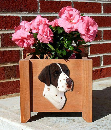 English Pointer Dog Planter Box Black