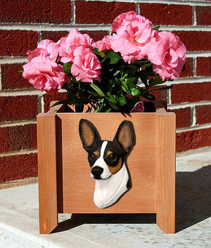Rat Terrier Dog Planter Box Tri