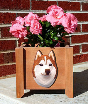 Siberian Husky Dog Planter Box Red And White