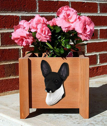 Toy Fox Terrier Dog Planter Box Black And White