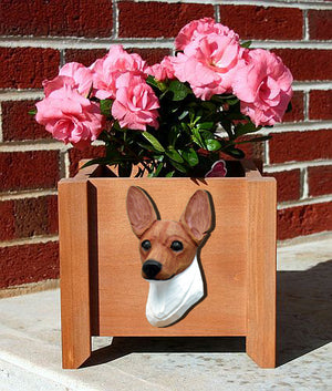 Toy Fox Terrier Dog Planter Box Red And White
