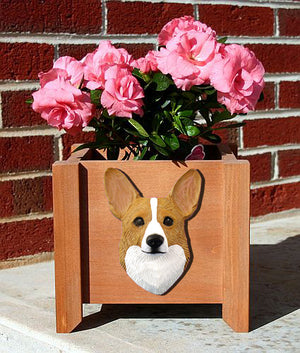 Welsh Corgi Pembroke Dog Planter Box Blonde