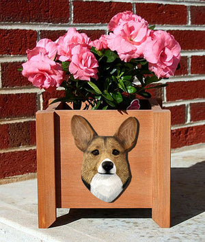 Welsh Corgi Pembroke Dog Planter Box Sable