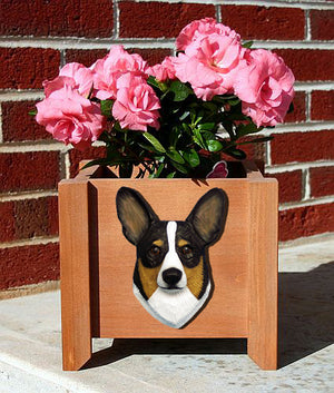 Welsh Corgi Pembroke Dog Planter Box Tri