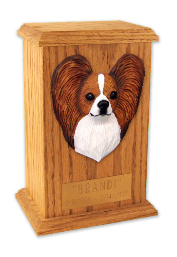 Papillon Dog Light Oak Memorial Cremation Urn Brown and White