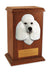 Poodle Dog Light Oak Memorial Cremation Urn White