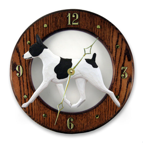 Rat Terrier Dog Light Oak Hand Crafted Wall Clock Red and White