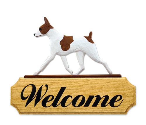Rat Terrier Dog in Gait Yard Welcome Sign Red and White