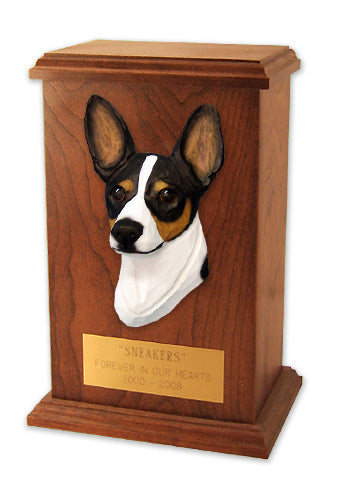 Rat terrier Dog Light Oak Memorial Cremation Urn Red and White