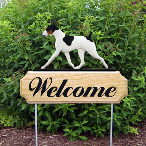 Rat Terrier Dog in Gait Yard Welcome Stake Red and White