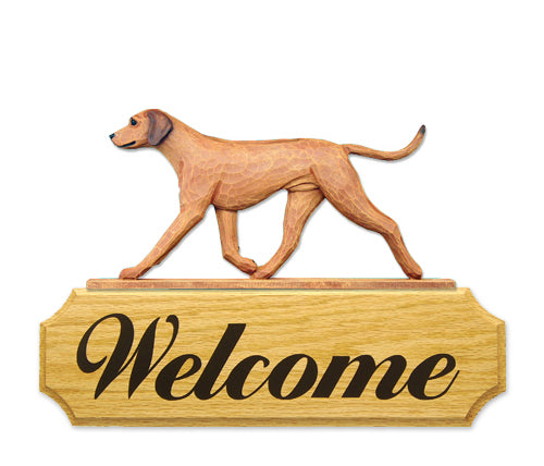 Rhodesian Ridgeback Dog in Gait Yard Welcome Sign