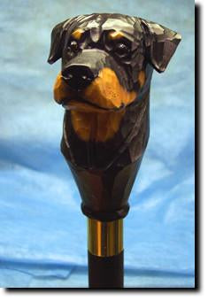 Rottweiler Dog Hand painted Walking Cane Stick