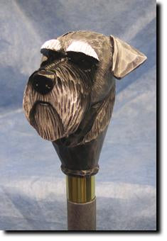 Schnauzer Natural Dog Hand painted Walking Cane Stick
