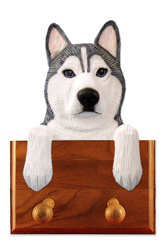Siberian Husky Dog Leash Holder Black And White