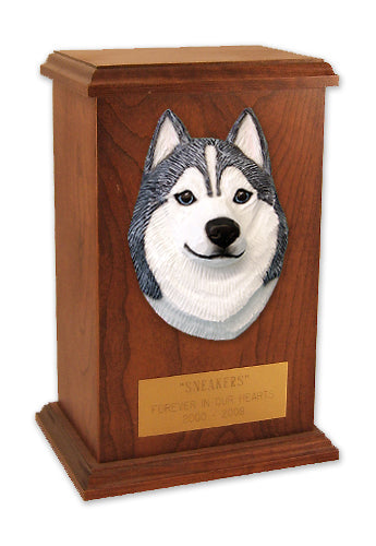 Siberian husky Dog Light Oak Memorial Cremation Urn Black and White