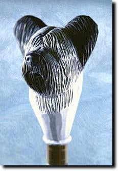 Skye Terrier Dog Head Hand Crafted Hiking Stick