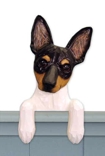 Toy Fox Terrier Dog Door Topper Black and White