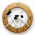 Toy Fox Terrier Dog Light Oak Hand Crafted Wall Clock Red and White
