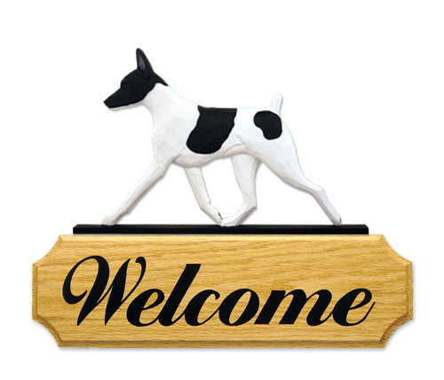 Toy Fox Terrier Dog in Gait Yard Welcome Sign Red and White