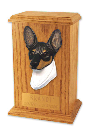 Toy fox terrier Dog Light Oak Memorial Cremation Urn Red and White
