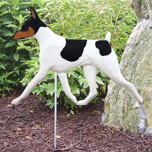 Toy Fox Terrier Garden Landscaping Stake Black and White