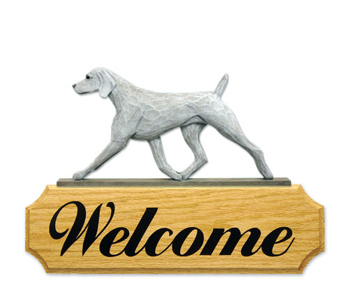 Weimaraner Dog in Gait Yard Welcome Sign