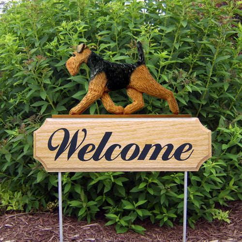 Welsh Terrier Dog in Gait Yard Welcome Stake