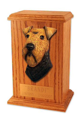 Welsh terrier Dog Light Oak Memorial Cremation Urn