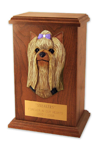 Yorkshire terrier Dog Light Oak Memorial Cremation Urn