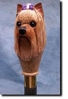 Yorkshire Terrier Dog Hand painted Walking Cane Stick