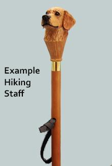 Shar Pei Dog Head Mounted on Birchwood Hiking Stick