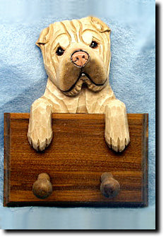 Shar Pei Dog Leash Holder with Pegs