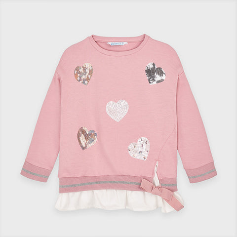 Pink Sequin Heart Sweater