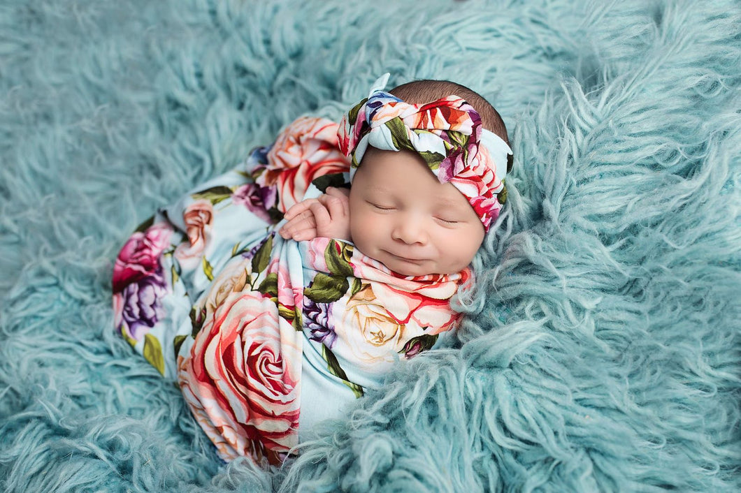 Country Rose Swaddle and headwrap set