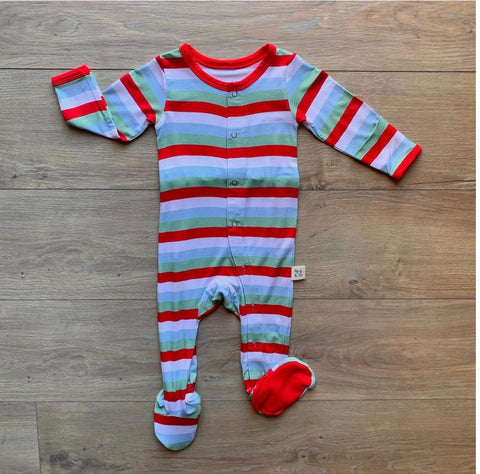 Holiday Stripe Footie