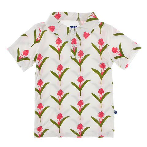 Natural red ginger flower polo