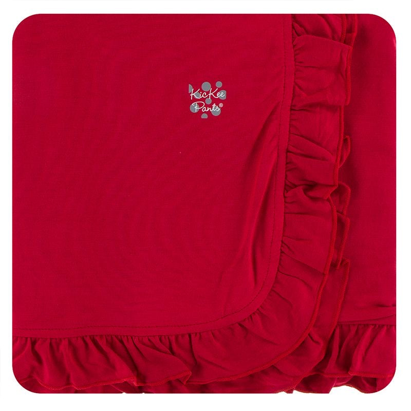 Solid Ruffle Crimson Toddler Blanket