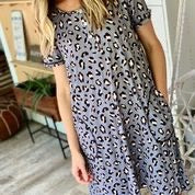 Leah Leopard Short sleeve Gown