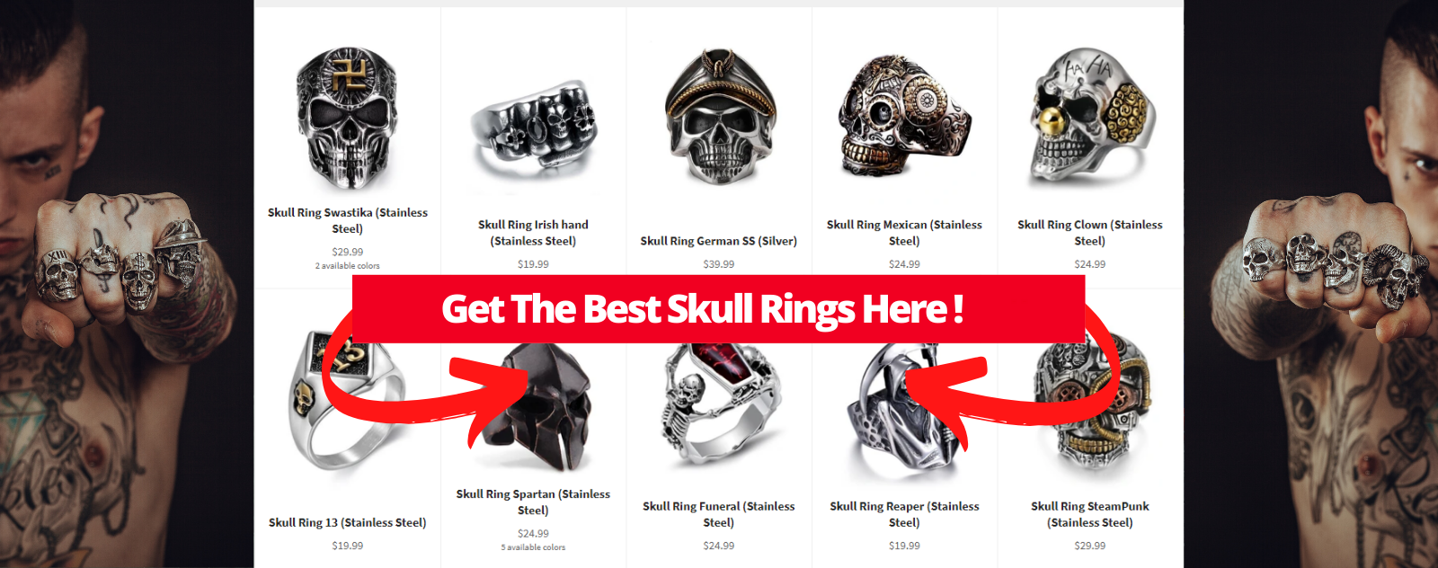 Collection of skull rings