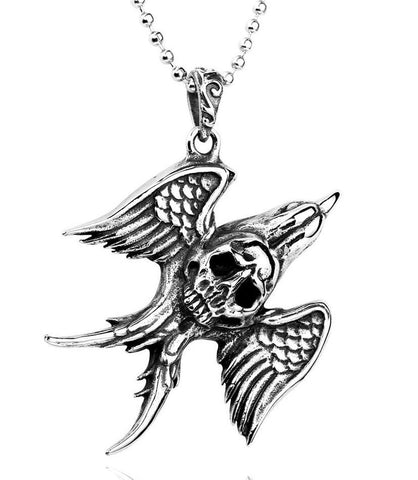 Angel Wing Skull Necklace