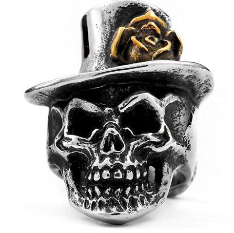 biker steampunk skull ring