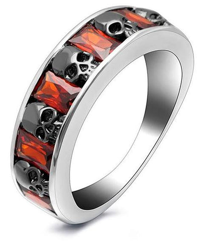 black and red skull ring
