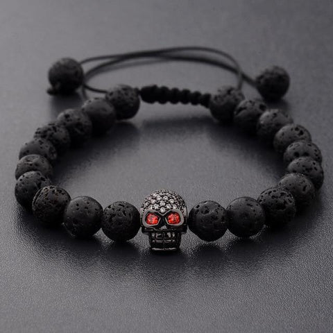 Black Bead Bracelet With Skull | Skull Action