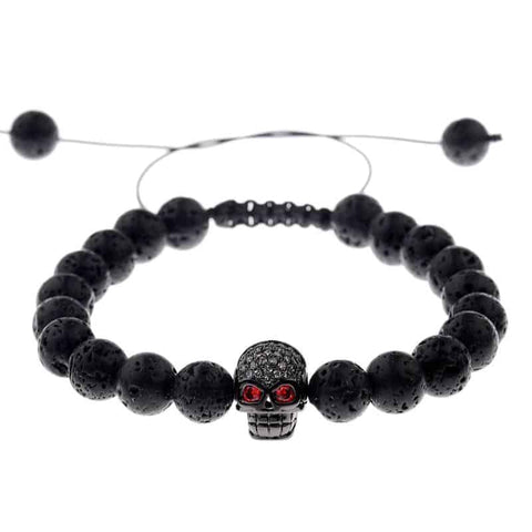 Black Bead Bracelet With Skull
