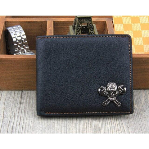 Black Leather Biker Wallet | Skull Action