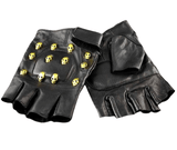 Black Leather Skull Gloves