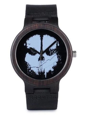 Black Skeleton Leather Watch