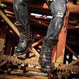 Black Skull Leather Boots | Skull Action