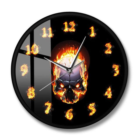 Black Skull Wall Clock